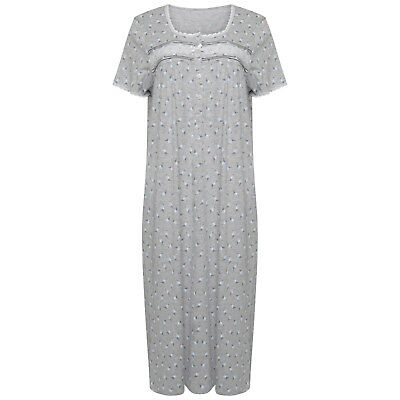 Short Sleeved Cotton Rich Jersey Nightdress. Grey/Blue Floral. Sizes 8/10-12/14.