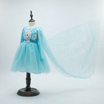 NEW Girls Dresses Costume Princess Queen Elsa for Long Sleeves Dress 3-8 years