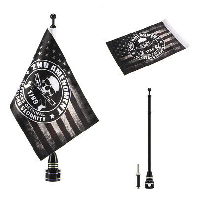 """Black Pole Mount 6x9"""" 2nd Amendment Skull and Crosse Flag For Harley Motorcycle"""