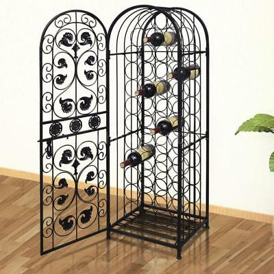 Floor Standing Wine Rack 45 Bottles Metal Storage Cabinet Wine Holder Bar M2I2