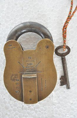 Old Brass Unique Shape Handcrafted Fish Engraved Padlock , Rich Patina