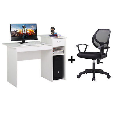 Adjustable Swivel Office Chair Black and Computer Desk with Drawer White