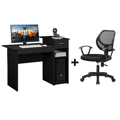 Adjustable Swivel Mesh Office Chair and Writing Table Computer Desk with Drawer