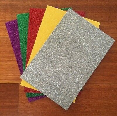 "5 PACK OF ""GLITTER PACK 2"" SELF ADHESIVE FOAM SHEETS, 15.5cm x 23cm sheets"
