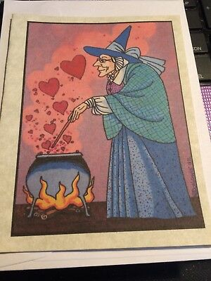 Witchy Valentine Card (B)- Blank Inside