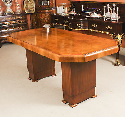 Antique Art Deco Dining Table Burr Walnut c.1930