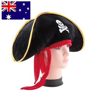 Pirate Captain Hat Skull Crossbone Cap Costume Fancy Dress Party Halloween DR