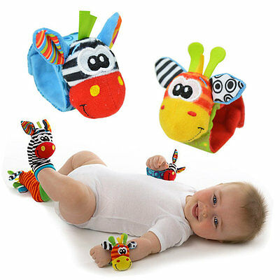 New Baby Soft Handbells Hand Wrist Strap Rattles Animal Socks Baby Toys PM