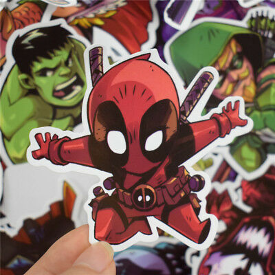 50 pcs Chibi DC Marvel Super Heroes Sticker Decals for Skateboard Luggage Laptop