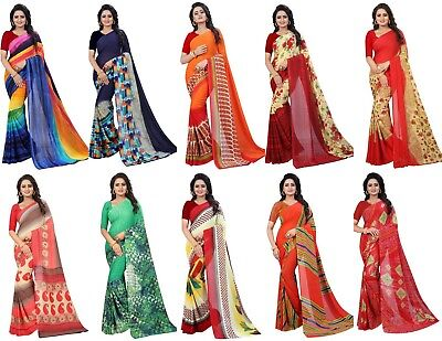 Traditional Georgette Saree Indian Pakistani Party Look Wedding Wear Sari SC