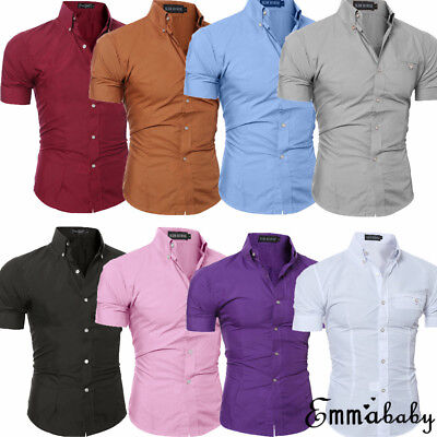 AU Men's Slim Fit Short Sleeve Shirt Casual Tee Tops Business Formal T Shirts