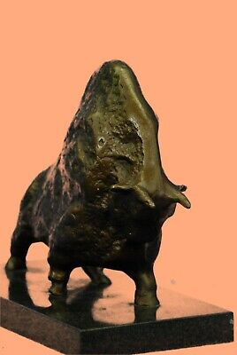Interesting Old Cubist Bronze Bull - Picasso - Abstract Bronze Sculpture Figure