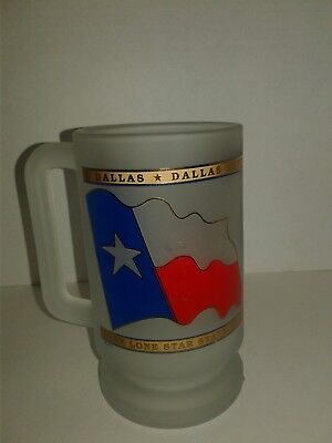 Lone Star State Texas featuring Flag and Dallas on Frosted Beer Mug NEW