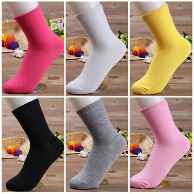 Chic Women 6 Pairs Candy Color Casual Middle Cotton Socks Sports Long Socks Cute