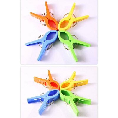 4pcs Practical Plastic Beach Towel Clips Large Sun Bed Lounger Pool Seat Set