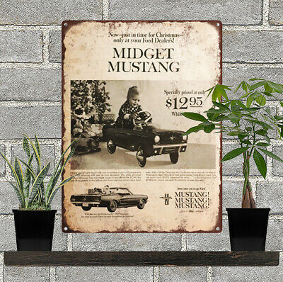 1965 Pedal Car Mustang Ford Advertising Baked Metal Repro Sign 9 x 12 60116