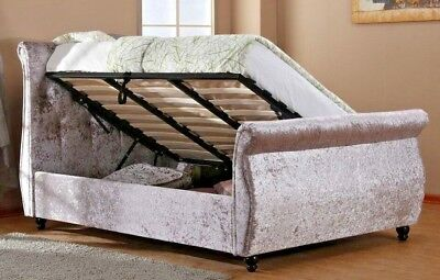 Mayfair Silver Crushed Velvet Fabric Side Opening Ottoman Sleigh Bed 4Ft6 & 5Ft