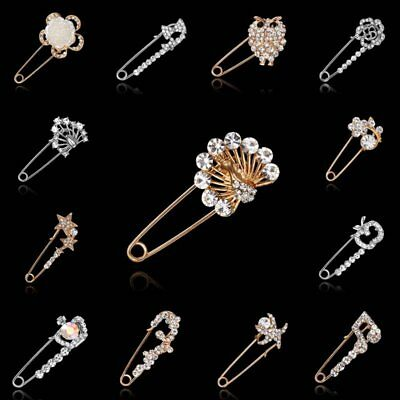 Gold/Silver Butterfly Crown Crystal Kilt Pin Scarf Clothes Shawl Brooch Jewelry