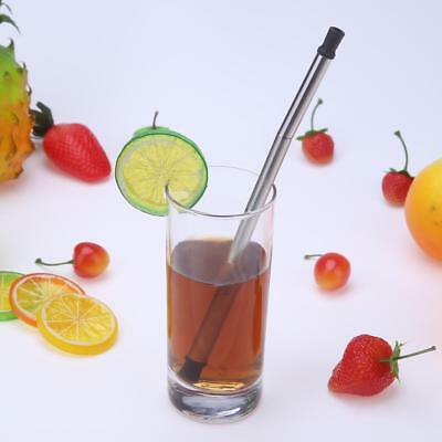 Stainless Steel Metal Drinking Straw Bent Reusable Washable Collapsible Foldable