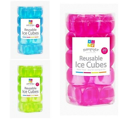 60 Pc Reusable Ice Cubes Multicolour Cool Cold Drinks Bar Barbecue BBQ Party