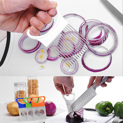 Tomato Onion Vegetables Chopper Slicer Cutting Aid Holder Guide Slicing Cutter