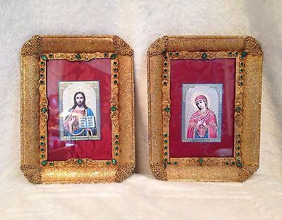 Antique French Dore' Bronze Gold Emerald Green Stone Jeweled Picture Frames  8x6
