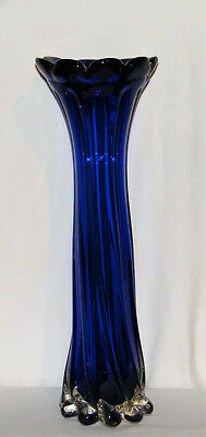"Stunning Vtg H-Blown COBALT BLUE ~MURANO~ Twisted ART GLASS VASE 16"" Flared Rim"