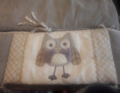 LEVTEX BABY NIGHT OWL GRAY WHITE 4 PIECE BUMPER PAD ~ FREE shipping!!