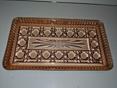 Vintage Pink Depression Glass Vanity Serving Tray Sawtooth & Button