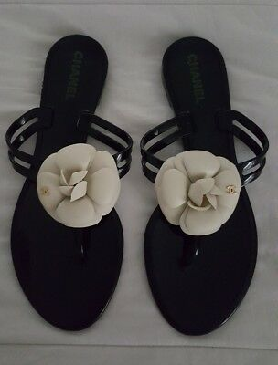 d68ef23e821d CHANEL Jelly Thong Sandals Flip Flops Black Cream Camellia Flower Size 39