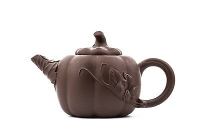 A Vintage Chinese Signed Botanically Decorated Pottery Teapot