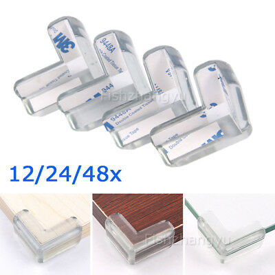 12/24Pcs Soft Table Desk Corner Edge Baby Kids Safety Bumper Protector PVC Clear