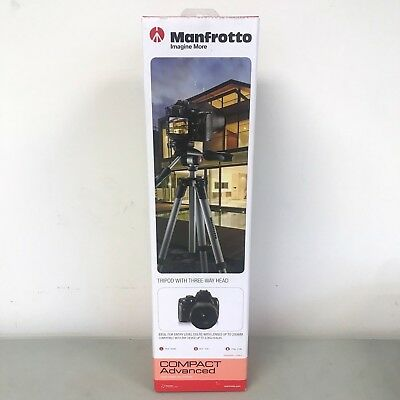 NEW Manfrotto MKCOMPACTADV-BK Compact Advanced Tripod with 3-Way Head