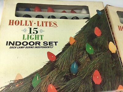Lot of 2 Vintage Holly-Lite Christmas Light Sets in Original Boxes untested