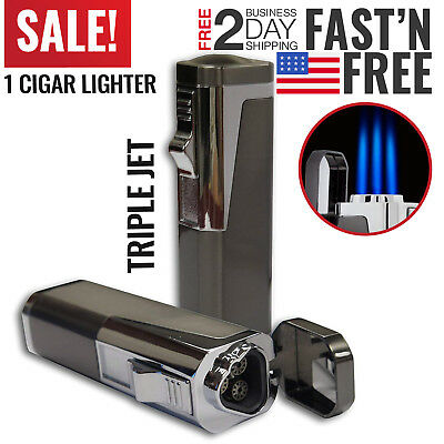 Cigar Torch Lighter Butane Torch Windproof Cigarette Triple Jet Gas Refillable