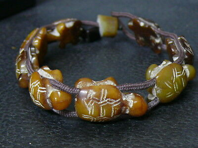 (eV423) Tibet: Old bracelet with stone turtle-beads hand carved. Rare!