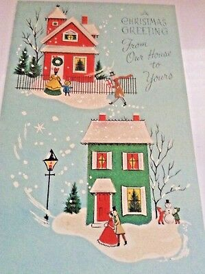 """Vintage Unused+env Christmas card glittered- """"From Our House To Yours"""""""