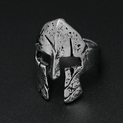 Spartan Hero Helmet Mask Ring for Men Vintage Punk Biker Jewelry Male Cool Antiq