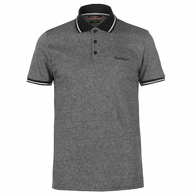 New Pierre Cardin Mens Pin Stripe Polo Shirt Classic Fit Top Short Sleeve Button