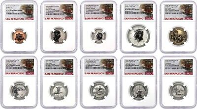 2018 S 50th Anniversary Reverse Proof Set NGC PF70 First Day Issue Trolley Label