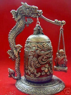 Hot Sale Excellent CHINA Tibet Brass Dragon buddha Bell free shipping z0785