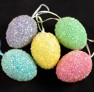 Lot of 5 VINTAGE LARGE BUBBLE HARD PLASTIC EASTER EGG ORNAMENTS IN PASTEL COLORS