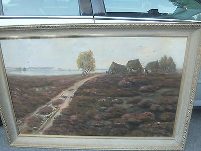 "Antique - Signed - 1914 - Large 56"" x 37"" - Oil on Canvas - Vietnamese?"