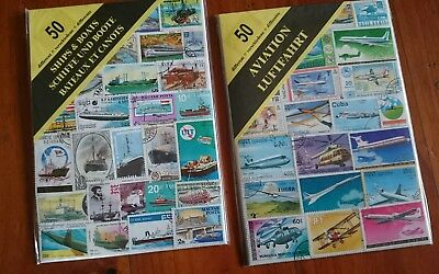 100 Stamps - Collectors - 50 Ships & Boats and 50 Aviation