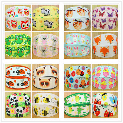 "7/8"" Baby Animal Printed Grosgrain Ribbon Hair Bow Birthday Party Craft Supplies"