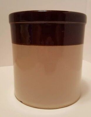 R.R.P. CO. Roseville Ohio Brown & Tan Stoneware Crock Pottery