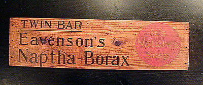 NICE! Vintage Eavenson's Naptha Borax Soap WOOD WOODEN ADVERTISING SIGN