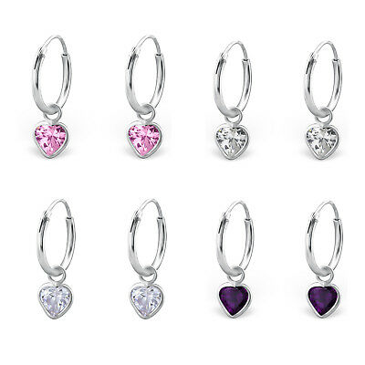 925 Sterling Silver CZ Crystal Hanging Heart Sleeper Hoop Earrings Kids Women