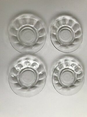 ARCOROC FRANCE CLEAR Thumbprint Glass Demitasse Saucers/Plate Set 4 Preowned