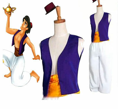 New Animation Aladdin Prince Cosplay Costume Men Clothes Uniform Fancy Dress Set